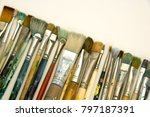 well used artists paintbrushes... | Shutterstock . vector #797187391