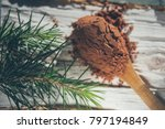 cocoa powder in the wooden... | Shutterstock . vector #797194849