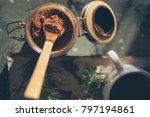 cocoa powder in the jar | Shutterstock . vector #797194861