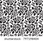 Stock vector stencil for laser cutting floral seamless pattern with roses simple wild flower for background 797198404