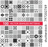 100 vector seamless pattern... | Shutterstock .eps vector #797202769