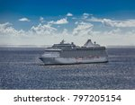 cruise ship on sunny horizon | Shutterstock . vector #797205154