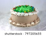 chocolate cake with green... | Shutterstock . vector #797205655