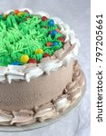 chocolate cake with green... | Shutterstock . vector #797205661