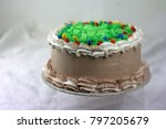 chocolate cake with green... | Shutterstock . vector #797205679