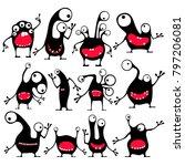 set of twelve cute black... | Shutterstock .eps vector #797206081