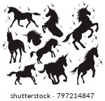 magic unicorn silhouette ... | Shutterstock .eps vector #797214847