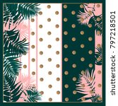 silk scarf with palm leaves on...   Shutterstock .eps vector #797218501