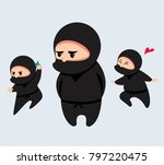 cute cartoon ninja set vector... | Shutterstock .eps vector #797220475