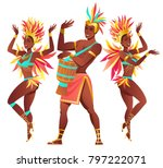 set of brazilian samba dancers... | Shutterstock .eps vector #797222071