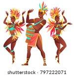 set of brazilian samba dancers... | Shutterstock .eps vector #797222071