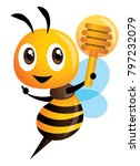 cartoon cute bee pointing and... | Shutterstock .eps vector #797232079