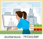vector illustration of a girl... | Shutterstock .eps vector #797241589