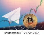 gold bitcoin on background of... | Shutterstock . vector #797242414