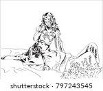 line art sketch of romantic... | Shutterstock .eps vector #797243545