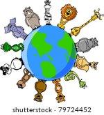 animals around the earth | Shutterstock .eps vector #79724452