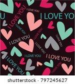 seamless cute beautiful...   Shutterstock .eps vector #797245627