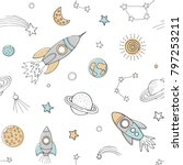 Stock vector space seamless pattern for children wear white backgroynd with cosmic elements vector 797253211