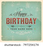 vintage happy birthday card... | Shutterstock .eps vector #797254174