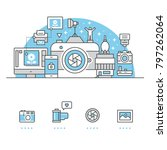 camera banner and icons with... | Shutterstock .eps vector #797262064