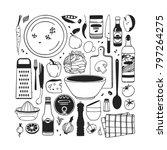 hand drawn illustration food ... | Shutterstock .eps vector #797264275