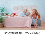 tired mother with many children ... | Shutterstock . vector #797264314