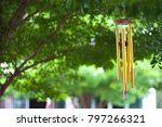 gold wind bell under the tree   Shutterstock . vector #797266321
