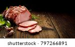 sliced smoked gammon on a... | Shutterstock . vector #797266891