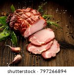 sliced smoked gammon on a... | Shutterstock . vector #797266894