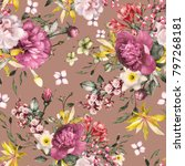 seamless pattern with flowers... | Shutterstock . vector #797268181