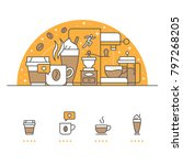 coffee banner and icons with... | Shutterstock .eps vector #797268205