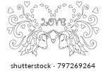 hand drawn unicorn. magical... | Shutterstock .eps vector #797269264