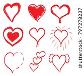 set of nine red hand drawn... | Shutterstock .eps vector #797278237