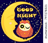 good night card with sleeping... | Shutterstock .eps vector #797278321