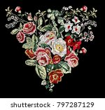 vintage flower embroidery in... | Shutterstock .eps vector #797287129