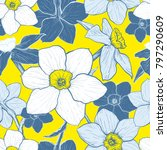 seamless pattern with flowers... | Shutterstock . vector #797290609