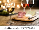 glass of white wine with french ... | Shutterstock . vector #797292685