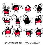 set of twelve cute black... | Shutterstock .eps vector #797298634