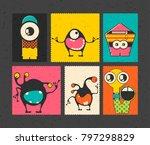 set of six retro postage s...