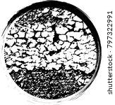 circle retro shape. black stamp....