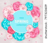 spring background with pink and ... | Shutterstock . vector #797323609