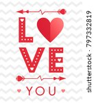vector valentines day card with ...   Shutterstock .eps vector #797332819