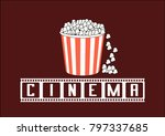 popcorn bucket with the movie... | Shutterstock .eps vector #797337685
