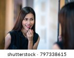 asian lady makeup by red... | Shutterstock . vector #797338615