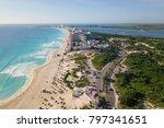 cancun beach panorama aerial... | Shutterstock . vector #797341651