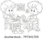 little children at breakfast in ... | Shutterstock .eps vector #797341705