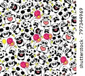 cute and funny hand drawn panda ... | Shutterstock .eps vector #797344969