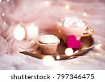 cupcake with cup of coffee on... | Shutterstock . vector #797346475