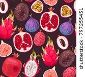 seamless exotic friut | Shutterstock .eps vector #797355451