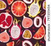 seamless exotic friut | Shutterstock .eps vector #797355454